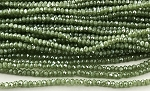 Chinese Crystal Rondelle Beads - Green Opal w/ Full Coat Silver Luster, 2x3mm - 1 strand