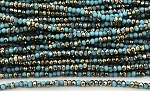 Chinese Crystal Rondelle Beads - Sky Blue w/ Gold, 1.5x2mm - 1 strand