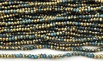 Chinese Crystal Rondelle Beads - Blue Opal w/ Gold, 2x3mm - 1 strand