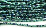 Chinese Crystal Rondelle Beads - Turquoise w/ Blue Iris, 1.5x2mm - 1 strand