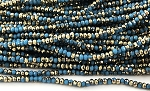 Chinese Crystal Rondelle Beads - Capri Blue w/ Gold, 2x3mm - 1 strand