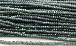 Chinese Crystal Rondelle Beads - Grey Opal w/ Green Iris, 1.5x2mm - 1 strand
