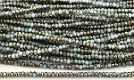 Chinese Crystal Rondelle Beads - White w/ Gold, 1.5x2mm - 1 strand
