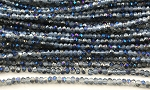Chinese Crystal Rondelle Beads - Grey Opal w/ Blue Iris, 1.5x2mm - 1 strand