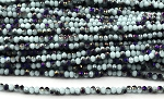 Chinese Crystal Rondelle Beads - White w/ Blue Violet Iris, 1.5x2mm - 1 strand
