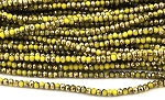 Chinese Crystal Rondelle Beads - Opaque Yellow w/ Gold, 1.5x2mm - 1 strand