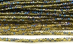 Chinese Crystal Rondelle Beads - Lemon Quartz w/ Blue Iris, 1.5x2mm - 1 strand