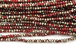 Chinese Crystal Rondelle Beads - Opaque Red w/ Gold, 1.5x2mm - 1 strand