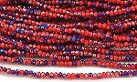 Chinese Crystal Rondelle Beads - Opaque Red w/ Blue Iris, 1.5x2mm - 1 strand