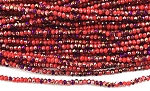Chinese Crystal Rondelle Beads - Opaque Red w/ Purple Iris, 1.5x2mm - 1 strand