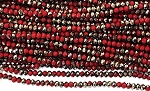 Chinese Crystal Rondelle Beads - Dark Red w/ Gold, 2x3mm - 1 strand