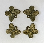 14 x 17mm Pewter Butterfly - Antique Brass - 4 qty.