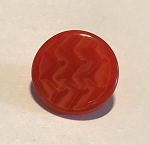 18mm 1930's Czech Glass Button - Red Pearl Zig Zag - 1 qty.