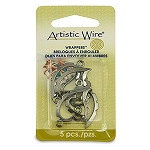 Artistic Wire Wrapper, Curved, Heart, Hematite Color, 5 pc