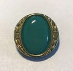 22mm Czech Glass Cleopatra Button - Turquoise w/ Gold - 1 qty.