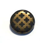 28mm Czech Glass Tabular Circle with Etched Quatrefoil Design – Metallic Bronze on Black Glass – 1 pc.