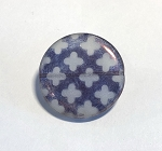 28mm Czech Glass Tabular Circle with Etched Quatrefoil Design – Sapphire w/ Pink Luster on Matte Crystal – 1 pc.