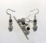 Czech Glass & Silver Plated Earring Kit - Beads & Findings - Filigree Snowman