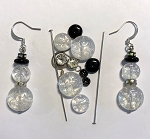 Czech Glass & Silver Plated Earring Kit - Beads & Findings - Crystal AB Snowman w/ AB Rondelles