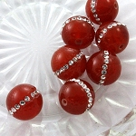 16mm Carnelian Bead with Pave Setting of Crystal Rhinestones - 1 pc.