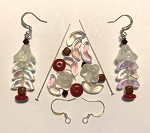 Czech Glass & Silver Plated Earring Kit - Beads & Findings - Crystal AB & Red Christmas Tree