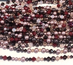Swarovski Bicone & Glass Pearl Mixed Strand - 4 & 6mm - Rose Garden Mix