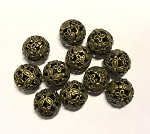19mm Round Floral Pewter Bead - Antique Brass - 1 qty.