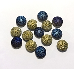 14mm Czech Glass Button Bead - Gold w/ 1/2 Blue Iris - 2 qty.