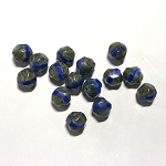 9mm Czech Glass Squiggle-Cut – Lapis Opal w/ Grey Travertine – 2 pcs.
