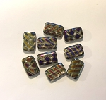 12 x 18mm Czech Glass Tabular Rectangle Bead – Peacock Marea Finish – 2 pcs.