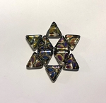 14 x 14mm Czech Glass Tabular Triangle Bead – Peacock Marea Finish – 4 pcs.