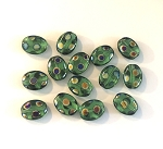 9 x 11mm Czech Glass Tabular Oval Bead – Peacock Marea Finish – 6 pcs.
