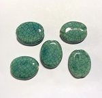 28-30mm Porcelain Oval – Teal Glaze – 1 pc.