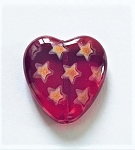 20 x 24mm Czech Glass Peacock Heart Pendant - Ruby with Stars - 1 qty.