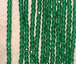 3mm Czech Fire Polish - Emerald Green - 50 qty. - BB