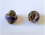 10 x 12mm Czech Glass Triple-cut Turbin Bead – Purple Moonglow – 2 pcs.