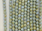 4mm Czech Fire Polish - Alabaster White Forest Green Luster - 50 Qty. BB