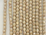 4mm Czech Fire Polish - Alabaster White Vintage Brown Luster - 50 Qty. BB