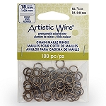 18 Gauge Artistic Wire, Chain Maille Rings, Round, Antique Brass Color, 15/64 in (5.95 mm),100 pc