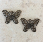 15 x 21mm Stamped Butterfly – Antique Brass - 2 qty.