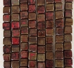 10mm Czech Glass Tabular Square – Opaque Red Travertine – 23 pcs.