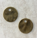 19mm Pewter Hammered Circle – Antique Brass - 2 qty.