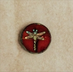 17mm Hand-pressed Czech Glass Tablecut Dragonfly - Garnet with Travertine - 1 qty.