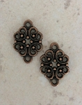 14 x 20mm Pewter Filigree Pendant, Antique Copper - 2 qty.