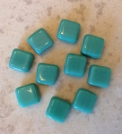 6mm Czech Glass Tabular Square - Opaque Turquoise - 10 qty.