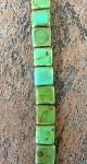 10mm Czech Glass Tabular Square - Opaque Turquoise with Travertine - 19 qty.