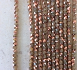 3mm Czech Fire Polish - Beige Opal Half Copper - 50 qty. - BB