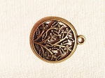 22 x 26mm Antique Brass Floral Pendant - 1 qty.