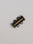 15 x 11mm 2-hole Antique Brass Slider Clasp - 1 qty.