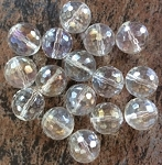 12mm Quartz Crystal Faceted Round –  Crystal AB - 1 pc.
